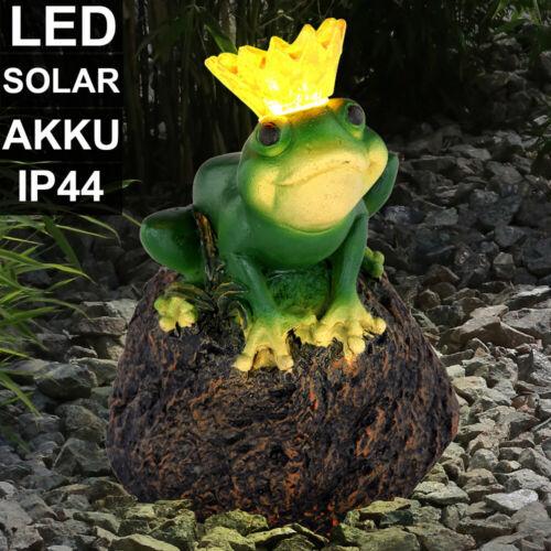 LED SOLAR Außen Bereich Stand Leuchte Grundstück Garten Frosch König Deko Lampe
