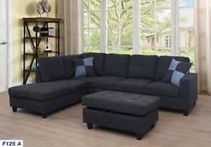 Details about LifeStyle Furniture 3PC Sectional Sofa Set with Free  Ottoman,2 Pillows(Gray)