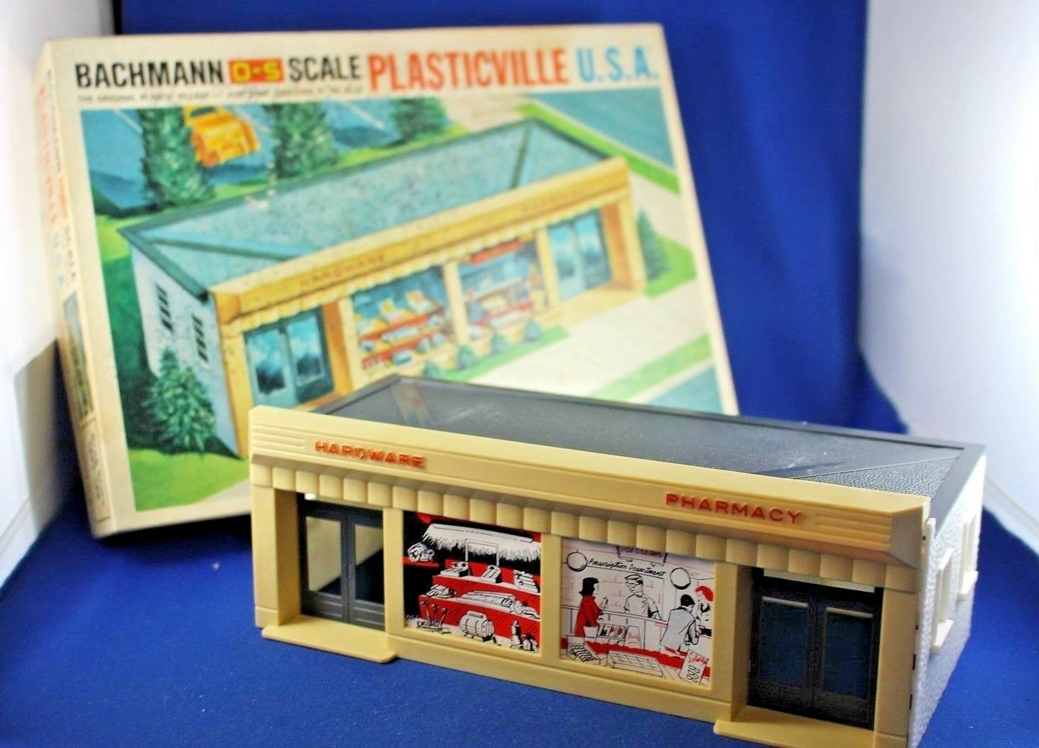 Plasticville-O-O27 -  1853-180 Tienda de drogas-Completo-duro encontrar lados blancoo