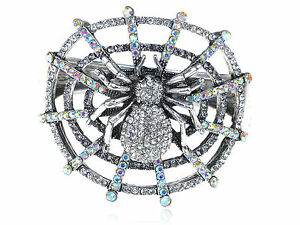 Men-039-s-Silver-Aurore-Boreale-Crystal-Rhinestone-Spider-Web-Insect-Bug-Bracelet