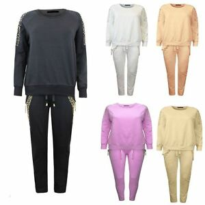 Ladies Womens Long Sleeve Diamante Pocket Shoulder Tracksuit SET Top trouser