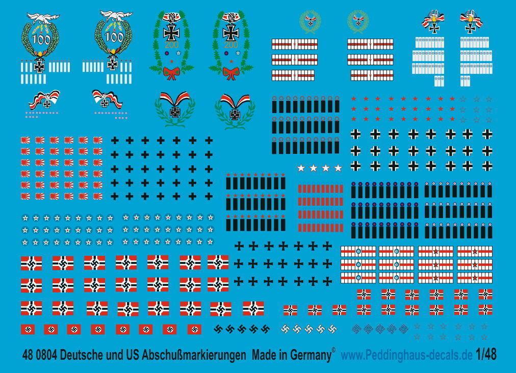 Peddinghaus 1 48 0804 Alemán y amerkianische Fuerza Aérea Lanzamiento de marcas