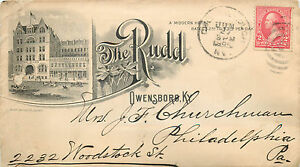 The Rudd Hotel ~OWENSBORO KY~ Scarce Early Advertising Cover / Envelope, 1895