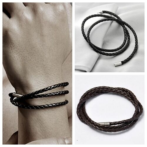 Coloured Braided Leather Triple Wrap Bracelet Wristband Stainless Steel Clasp