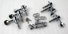 Mini Button 3x3 SET Chrome Die Cast Sealed Back Tuners NEW All Hardware Included