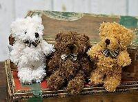 Adorable Fuzzy Furry Jointed Teddy Bear With Plaid Bow- Set Of 4