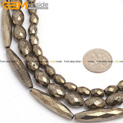 """Natural Stone Pyrite Gemstone Beads For Jewelry Making 15/"""" Faceted Olivary"""