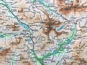 Map Of Wales Uk.1926 Antique Color Map Snowdon District Wales U K 100