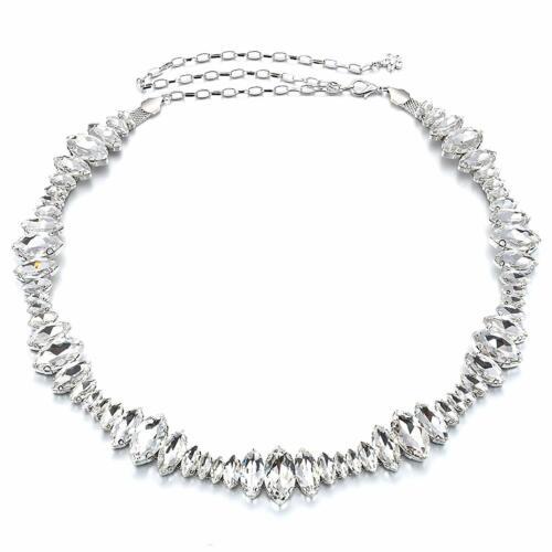 Women/'s Ladies Silver Rhinestone Diamante Chain Waist Belt Bridal Wedding Dress