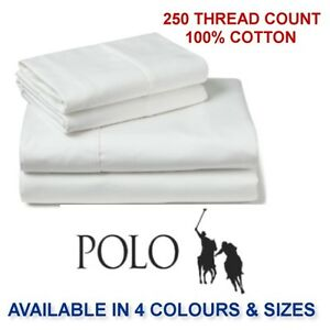 POLO-100-COTTON-FITTED-SHEET-SET-SB-DB-QB-amp-KB-SIZES-AVAILABLE