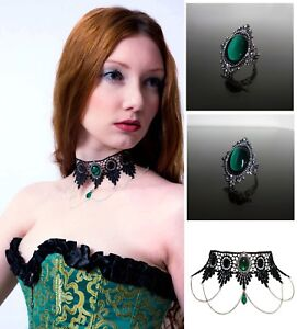 Emerald-green-gothic-lace-choker-and-ring-set-goth-necklace-victorian-SINISTRA