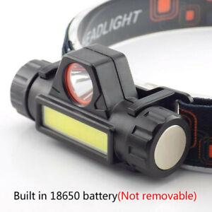 COB-LED-Headlamp-USB-Rechargeable-Mini-Headlight-head-light-Torch-Flashlight-Lw
