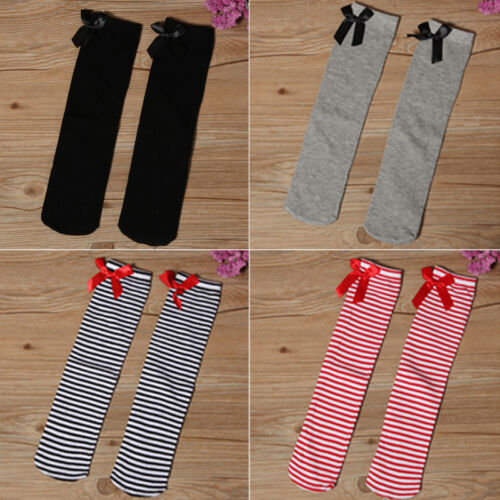 Cute Lovely Girls Kids Toddler Bow Knee High Socks Clours Silk Bowknot 1-8 years