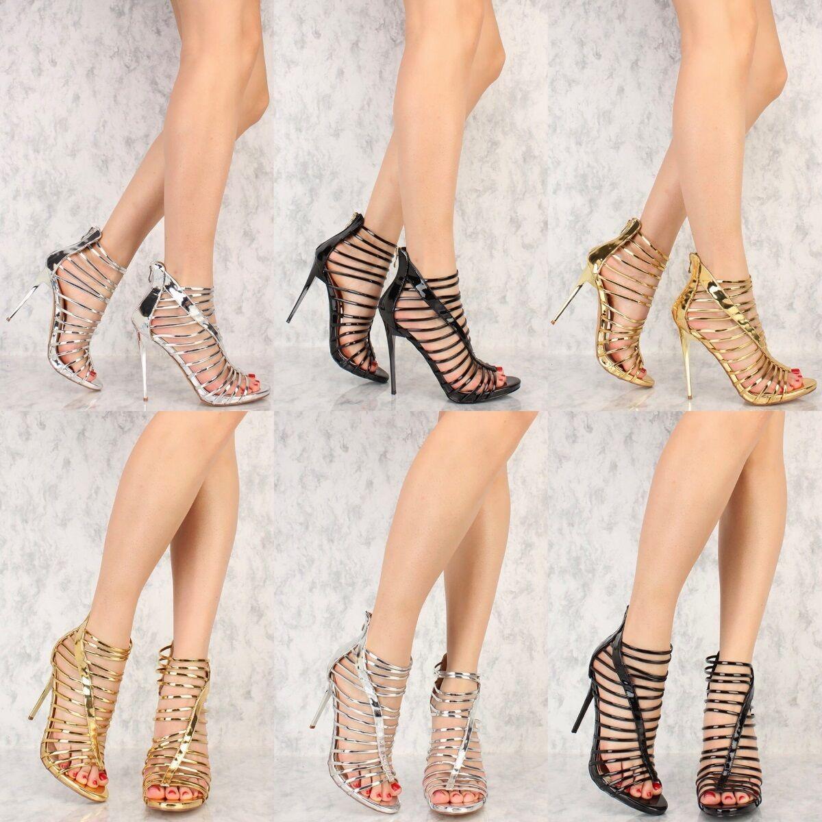Metallic Patent Mirror Strappy Stiletto High Heels Open Toe Booties Sandals H182