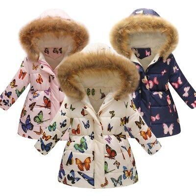 Toddler Baby Girls Kids Warm Hooded Coat Winter Butterfly Jacket Outerwear Latest
