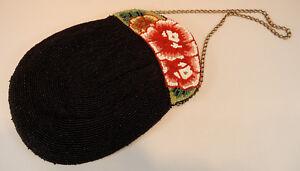 Perlenbeutel-Pompadour-Perlentasche-schwarz-Blumen-Glasperlen-22-x-17cm