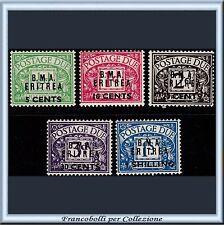 1948 Occupazioni Colonie B.M.A. Eritrea Segnatasse 5 val. n. 1/5 BMA Nuovi ** []