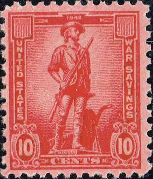1942 10c War Saving Stamp - Minute Man, Rose Red Scott