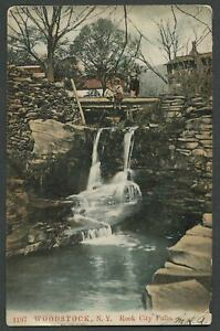 Woodstock-Ulster-Co-NY-1907-Postcard-ROCK-CITY-FALLS-On-Tannery-Brook