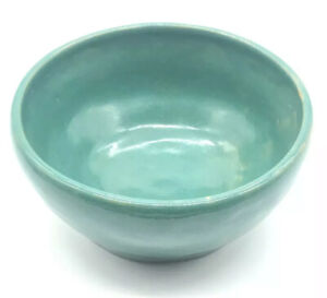 Antique-Signed-MURRAY-1935-Green-Arts-and-Crafts-Pottery-Bowl-Vase-Aqua-Vintage