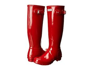 Hunter-Original-Tall-Wellington-Gloss-Boots-WFT1000RGL-Welly-M-RED-SZ-5-11-NIB