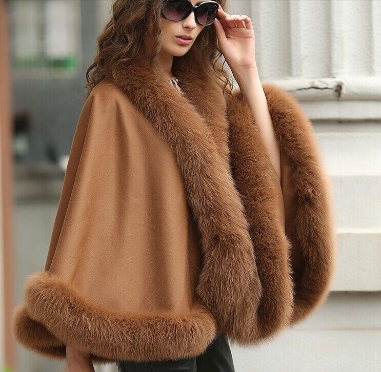 Elegant  Woherrar Real Cashmere Real Fox Fur Cloak poncho  coat  wraps   A style