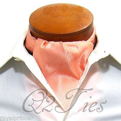 NEW Men's Mini Stripes Slipknot Style Ascot Cravats Wedding Prom Peach