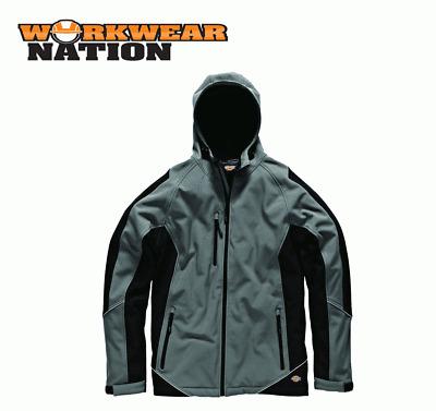 Dickies Two Tone Softshell Jacket Waterproof Coat Fleece Work Black JW7010