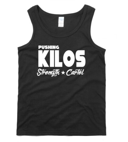 Pushing Kilos GYM VEST T-shirt Strength Cartel Bodybuilding Weight Lifting MENS