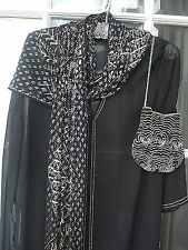 Vintage 1920s  beautiful Assuit Scarf Shawl  Black net silver metals no holes