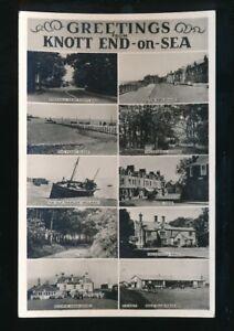 Lancs-Lancashire-KNOTT-END-ON-SEA-Greetings-M-view-c1950-60s-RP-PPC