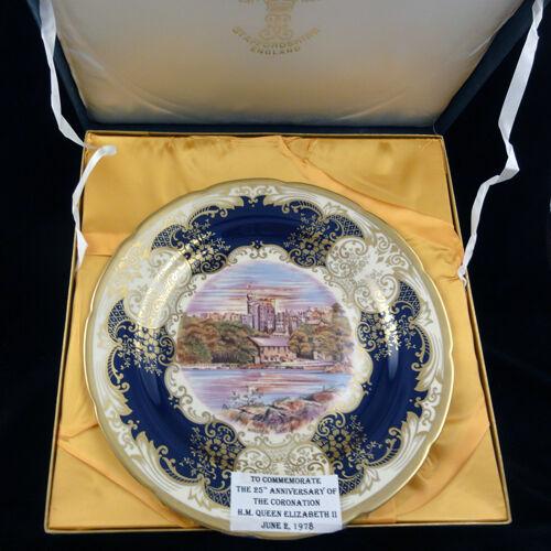"Queen Elizabeth II 25TH Anniversary Coronation PLATE 12/"" Crown Staffordshire NIB"