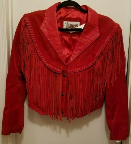 Women's Red Suede Fringe Jacket M