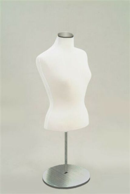 FEMALE COUNTER TOP MANNEQUIN TORSO FORM WITH CHROME METAL BASE