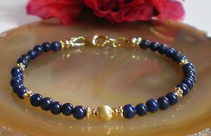 Feines-Lapis-Lazuli-Armband-4-5-mm-gebuerstet-925-Silber-24-Kt-vergoldet-Nr-07G