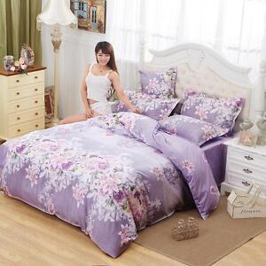 lila bl te einzeln queen king gr e bett set 2 kissenbezug steppdecke bettdecke ebay. Black Bedroom Furniture Sets. Home Design Ideas