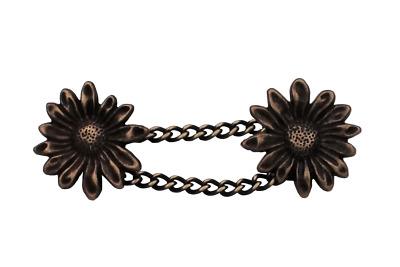 6 Stück messing bronze Metall Knöpfe  Blüte Blume Ösenknöpfe 20 mm