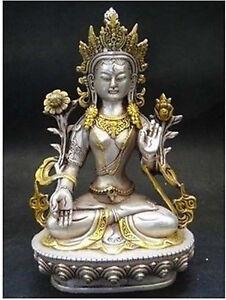 8.66 inch/Tibet Tibetan Buddhism Silver Bodhisattva Guan Yin Buddha Statue