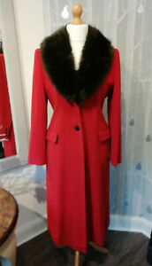 Austin Reed Red Cashmere Wool Coat W Removeable Collar Uk Size 12 Ebay
