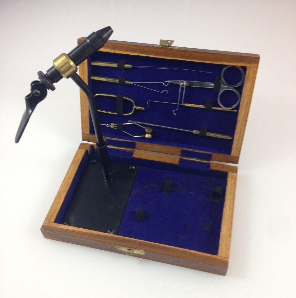 Kit, Fly Tying 9 Tools  in hand made Teak Wood Carrying Box FF796 EBN  in stock
