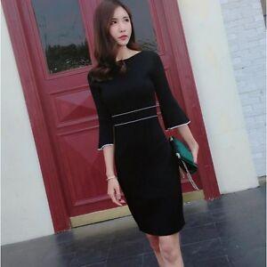 Elegante raffinato mini abito donna tubino corto nero bianco morbido 3403