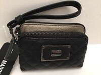 Steve Madden Wristlet Black Multi Double Pocket Cell Phone Case Wallet Clutch