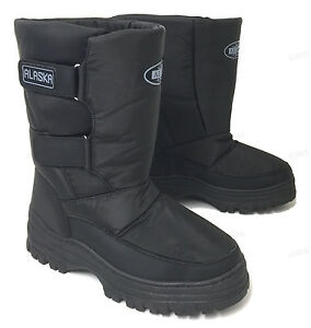 Mens Snow Boots Winter Ski Water Repellent Nylon Warm Lined Black, Sizes:7-13