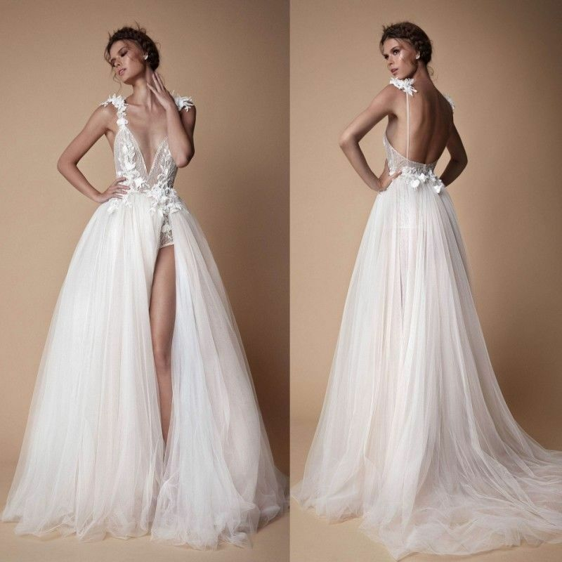 f2f8a79dd7 Details about Sexy Deep V-neck Wedding Dress Split A Line Bridal Gowns  Tulle Backless Custom