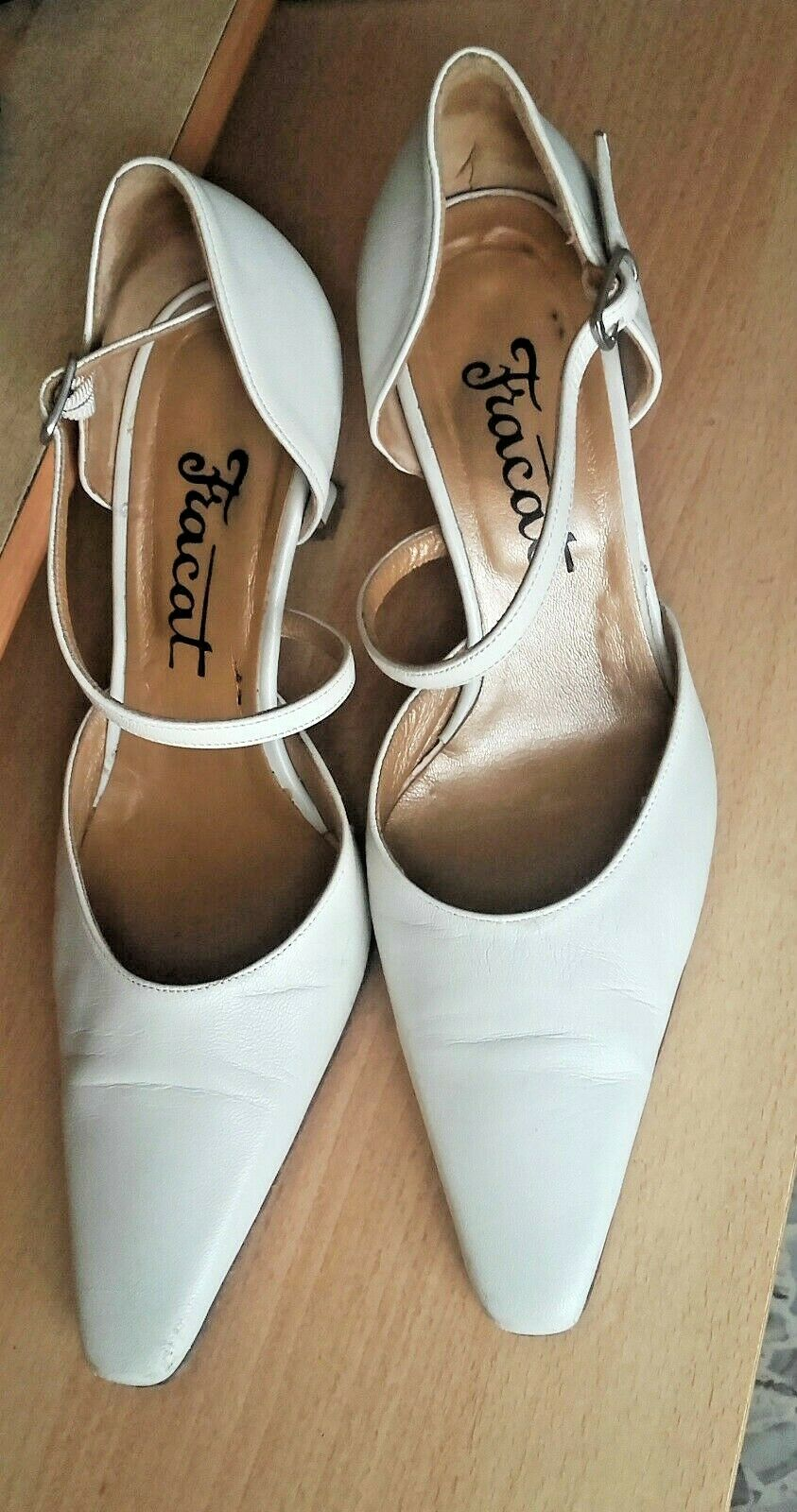 Bridal Wedding Shoes in Leather, Brand fracat, Cream, Size 36
