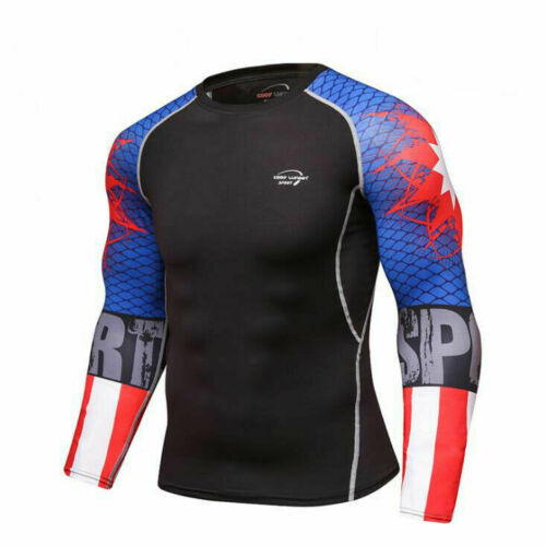 Details about  /Mens Gym Athletic Compression T-shirts Workout Long Sleeve Spandex Tops