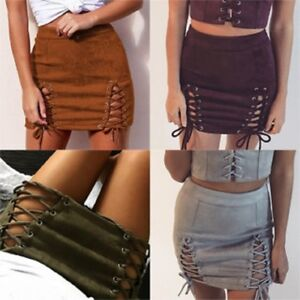 0848a190e3 Details about 2019 Sexy Women Summer Party Dress Beach Skirt Slim Lace Up  Hollow Short Skirts
