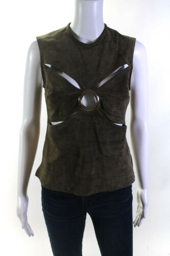 Beaufille Womens Suede Sleeveless Cut Out Blouse G