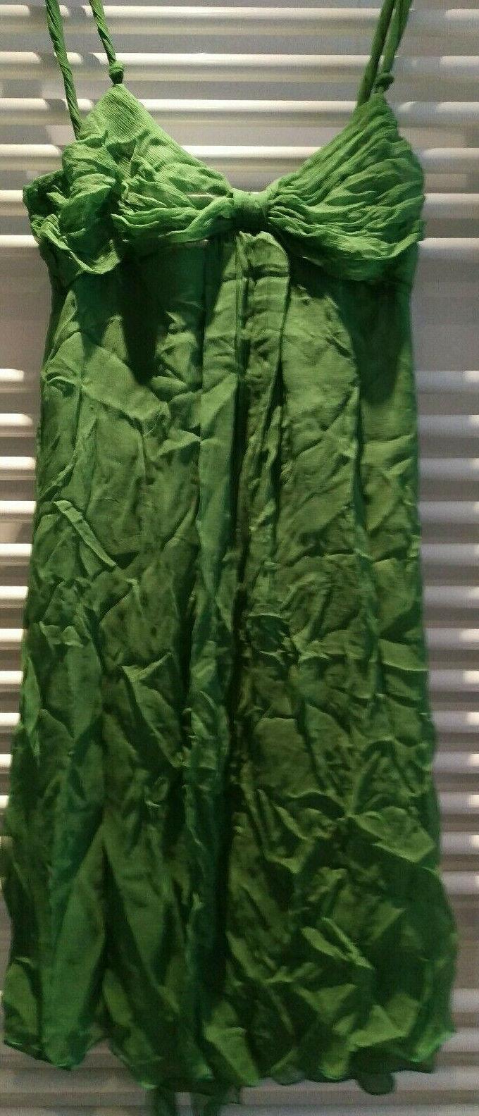 Kleid Seide Größe L  Neu Crepseide Grün mit Etiketten knielang Zara 38 bis 40