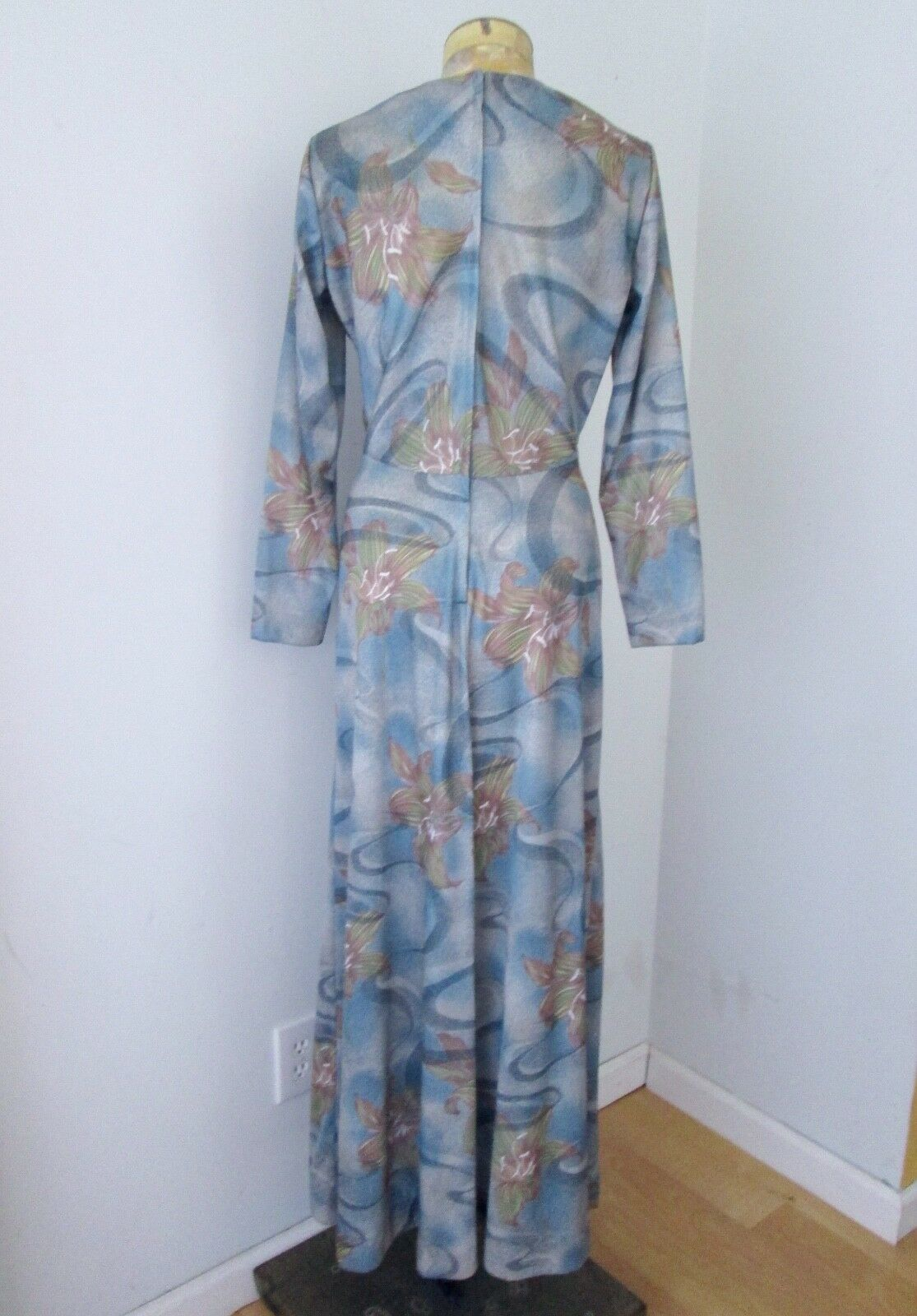 9e24ded0f11 VGC Vtg 70s Sears Mod Blue Floral Swirl Polyester Knit Maxi Dress Disco  Gown 14